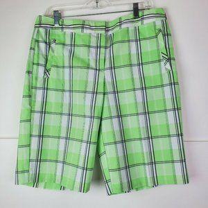 IZOD PERFORMX Cool-FX Stretch Green Plaid Shorts